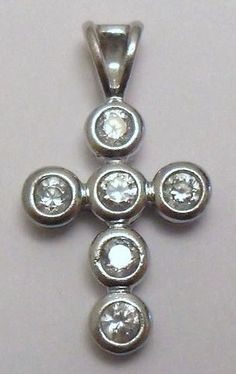 Sterling Silver and CZ Cross Pendant by onetime on Etsy, $6.25