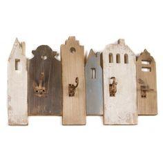 Perchero de pared con cuatro colgadores, modelo Casas. Percha de madera de álamo tono envejecido:      Medidas: 14x66x40 cm