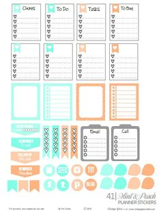 Mint and Peach Planner Stickers preview
