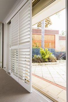 Here Are window shutters indoor for your cozy home Window Shutter Blinds, Sliding Door Shutters, Outdoor Window Shutters, Outdoor Blinds, Diy Shutters, Shutter Doors, Patio Doors, Patio Door Blinds, Glass Door Coverings
