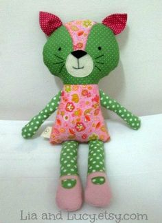 """18"""" fabric cat doll!  So colorful and cute!"""