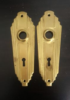 Brass Antique Art Deco Back Plates for Doorknobs 530901 by CharlestonHardwareCo…