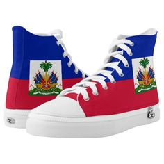Haiti Flag High-Top Sneakers Haitian Pride Shoes Coat of Arms Symbol Emblem Haiti History, Pride Shoes, Haiti Flag, Cartoon Dog, Scottie Dog, Custom Sneakers, Plaid Pattern, Red Plaid, On Shoes