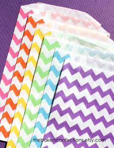 Girls Rainbow Chevron Paper Favor Bags - 6 color set of MEDIUM bags (set of 18 - 3 each color). $4.95, via Etsy.