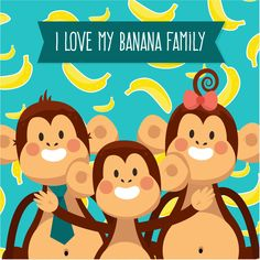I Love My Dad Monkey's Family File Photo Background Vector