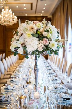 Stunning floral arrangement and venue styling at Hedsor House taken by Hertfordshire wedding photographer, Lee Rushby. Hedsor House, London Wedding, Luxury Wedding, Floral Arrangements, Wedding Flowers, Wedding Venues, Wedding Inspiration, Engagement, Table Decorations