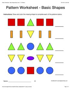 pattern worksheets for kids colored basic shapes 1 1 2 pattern - Color Patterns For Kids
