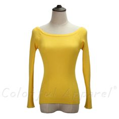 Colorful Apparel Autumn and Winter basic Women Sweater slit neckline Strapless Sweater thickening sweater CA111A
