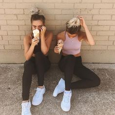 """13.5k Likes, 54 Comments - Tess & Sarah (@tess_and_sarah) on Instagram: """"went on a run... to the ice cream shop.  loving these @granacom outfits so much! Use our code…"""""""