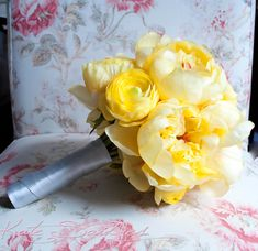 Wedding Bouquet Yellow Peony Wedding Bouquet - Yellow Peony and Ranunculus Bridal Bouquet. $90.00, via Etsy.