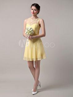 Laço do chiffon Bateau decote vestido de dama de honra curto