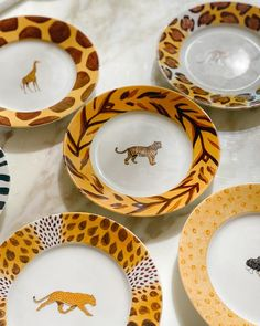 Patricia Deroubaix Porcelain Jungle Collection, 6 inch Plates, Set of – Nice Vintage Things Plate Sets, 6 Inches, Decorative Plates, Porcelain, Collections, Nice, Tableware, Vintage, Porcelain Ceramics