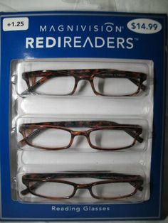 728a78375a Box of 3 Magnivision Brown Tortoise Reading Glasses +1.25 1.75 2.25 2.75 NEW