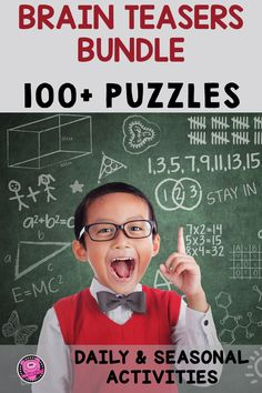 Over 100 Printable Brain Teasers and Logic Puzzles will challenge kids to use critical thinking skills by using fun, tricky, problem solving riddles. These Logic Puzzles and Brain Teasers have students read clues then use illustrated pictures that keep kids actively engaged, challenged, but not frustrated! This BUNDLE of Brain Teasers and Logic Puzzles includes seasonal puzzles and daily puzzle activities. Check out this resource for your gifted students and intermediate students… Social Studies Resources, Teacher Resources, Classroom Resources, Classroom Ideas, Enrichment Activities, Teaching Activities, Teaching Ideas, Critical Thinking Activities, Critical Thinking Skills