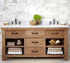 Benchwright Double Sink Console, Wax Pine Finish - farmhouse - Bathroom Vanities And Sink Consoles - Pottery Barn
