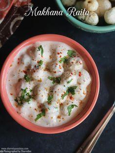 makhana raita recipe is a easy raita made with phool makhana or puffed lotus seeds.makhana raita pairs up well with roti,puloa or paratha. Raitha Recipes, Kitchen Recipes, Indian Food Recipes, Gourmet Recipes, Cooking Recipes, Healthy Recipes, Jain Recipes, Indian Foods, Cheese Recipes