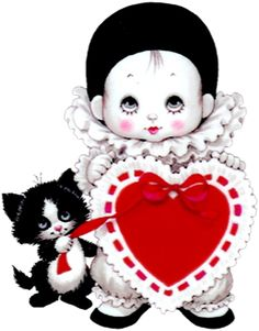 Cute Mime with Heart and Kitten PNG Picture