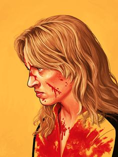 The Bride (Uma Thurman) from Kill Bill by Mike Mitchell - Quentin Tarantino Mike Mitchell, Jasper Johns, Cultura Pop, Portrait Illustration, Character Illustration, Illustration Fashion, Fashion Illustrations, Digital Illustration, Pop Art