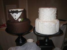 Wedding Dress Cake & Tuxedo Cake