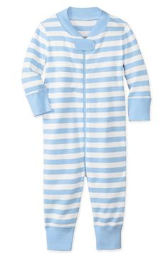 hanna andersson blue and white stripe sleeper for baby boy