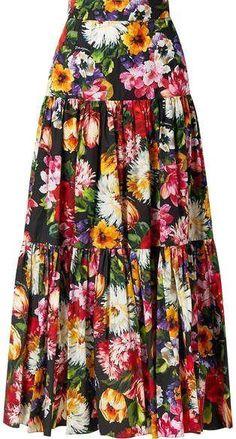 Dolce & Gabbana Tiered Ruffled Floral-print Cotton-poplin Maxi Skirt - Black Source by aysellgr skirt Silk Dress, Dress Skirt, Maxi Skirts, Pencil Skirts, Silk Skirt, Maxis, Jean Skirt, Prom Dress, Wedding Dress