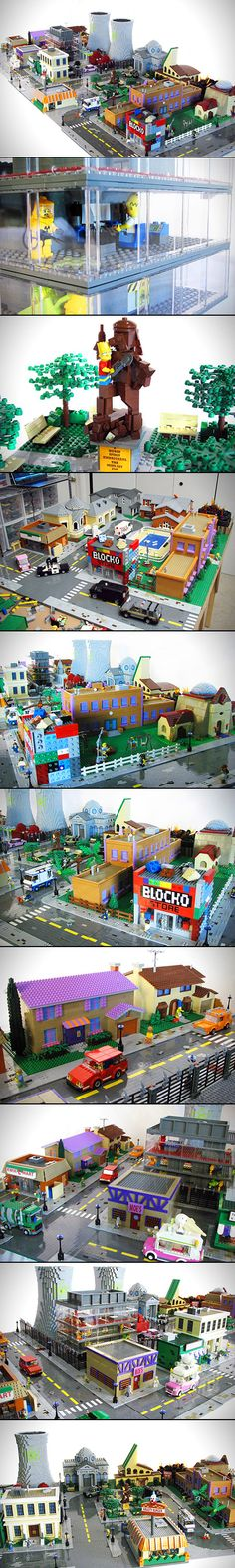 Talk with Matt De Lanoy, because he's achieved it, thanks to this massive and amazing LEGO version of the town of Springfield. If it's a staple location on the show, it's here, including the Simpson and Flanders houses, Moe's Tavern, Krusty Burger, the Kwik-E-Mart, the nuclear power plant, The Android's Dungeon, the Stonecutter's Club and more.