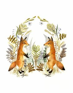 "fox art, fox watercolor, Watercolor painting- reproduction- ""Foxes and Ferns"" print of watercolor painting"