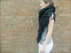 DIY Crochet Pattern: triangle scarf, chunky bulky yarn, bandana scarf, fringe shawl, free crochet pattern, easy crochet InStAnT DoWnLoAd on Etsy, £3.01