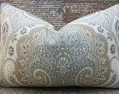 Designer Lumbar  Pillow Cover -  Lumbar sizes, 16 x 16, 18 x 18, 20 x 20 Latika Ikat Light Blue, Tan & Gray