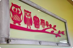 window with owl family  :: all things thrifty