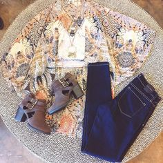 #ootd from our Congress location is perfect for all of your fall festivities! #fall #boots #kimono #skinnies