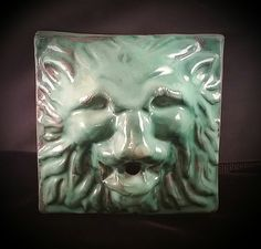String Dispenser Holder Antique Lion Stoneware Ribbon Organizer Wall Art Sculpture by OldGLoriEstateSale on Etsy