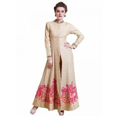 Buy Beige Front Slit Long Kurti for womens online India, Best Prices, Reviews - Peachmode