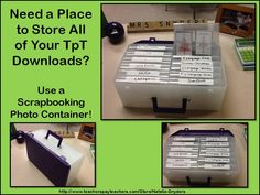 Idea to store all of your great TpT downloaded materials - use a scrapbooking photo box!