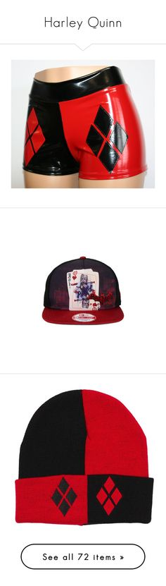 """Harley Quinn"" by nightluver ❤ liked on Polyvore featuring shorts, accessories, hats, snap back hats, adjustable hats, cap snapback, snap back cap, adjustable cap, bags and handbags"