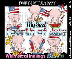 Fourth Of July Baby Clip Art - Commercial Use, Digital Image,  Clipart - Instant Download - Fireworks, Patriotic, American Flag, Baby First by ResellerClipArt on Etsy