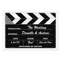 Wedding Save the Date Card   Movie Clap Board