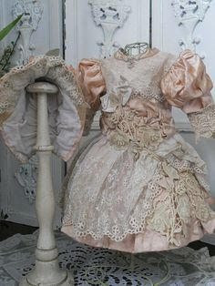 Antique French Rose Silk Dress with Bonnet