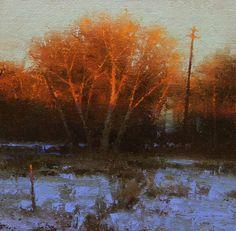 Willow Morning. 8x8 Oil on linen. Palette knife. Brent Cotton