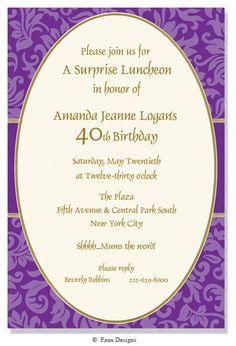 Victoria Purple Invitation