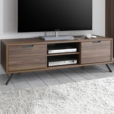 Wall unit tv cabinet details about modern wall unit tall stands for flat sc Tv Stand Sideboard, Sideboard Ideas, Console, Walnut Tv Stand, Modern Tv Units, Tv Wall Design, Bohemian Style Bedrooms, Tv Cabinets, Living Room Bedroom