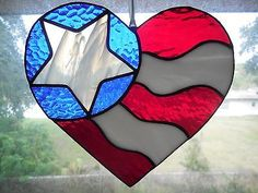 Handmade Stained Glass USA Patriotic Red White Blue Flag Heart Suncatcher