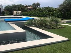 This modern pool has a light colored stone look porcelain tile called Sands White. Great for indoor and outdoor use. There are different colors, styles and sizes available. Modern Pools, Porcelain Tiles, Sands, Different Colors, Indoor, Dreams, Stone, Simple, Outdoor Decor