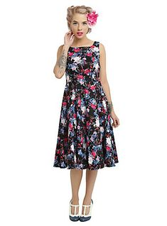 4438f32be3 Black Floral Swing Dress, Hearts And Roses, Disney Bound Outfits, Classy  And Fabulous