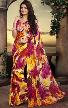 Picture of Enigmatic Pink and Yellow Color Casual Saree