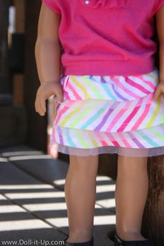 Make the easiest ruffle skirt for dolls- no pattern needed!