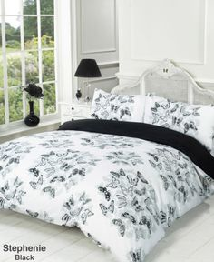Duvet Quilt Cover Bedding Set Black White Single Double King from Super Cheap BeddingSuper Cheap Bedding - If you just King Size Duvet Covers, Double Duvet Covers, Bed Covers, Duvet Cover Sets, Cover Pillow, Pillow Cases, Butterfly Bedding Set, Superking Bed, Double Bed Size