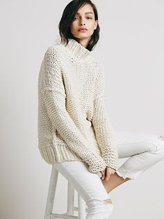 Free People Chunky Cotton Cowl Neck at Free People Clothing Boutique $128