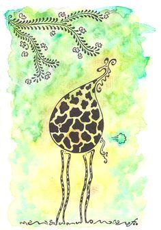 """girafe souffrant d'aérophagie, girafe qui pète : dessin automatique et aquarelle par """"TillyfoO"""""""