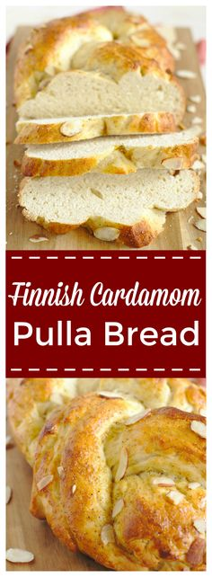 Finnish Cardamom Pulla Bread – A light and delicious loaf of Finnish cardamom bread! This cardamom bread dough braided into a beautiful loaf and topped with a cardamom wash and almonds. Perfect topped with butter or jam for Easter breakfast or weekend brunch! #easter #finnish #bread #breakfast #baking #cardamom #pulla